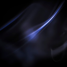 Blue Wisp by Joshua Clifford - Abstract Macro ( curved, simplistic, line, smoke, black, bright, simple, simplicity, sharp, blue, angled, dark, wisp, smokey, lines, soft,  )
