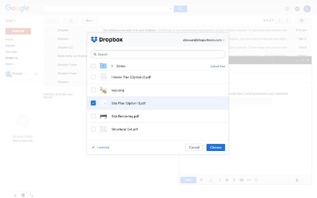 Screenshot of Dropbox for Gmail for Chrome