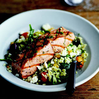 Grilled Salmon with Orzo, Feta, and Red Wine Vinaigrette recipe | Epicurious.com.