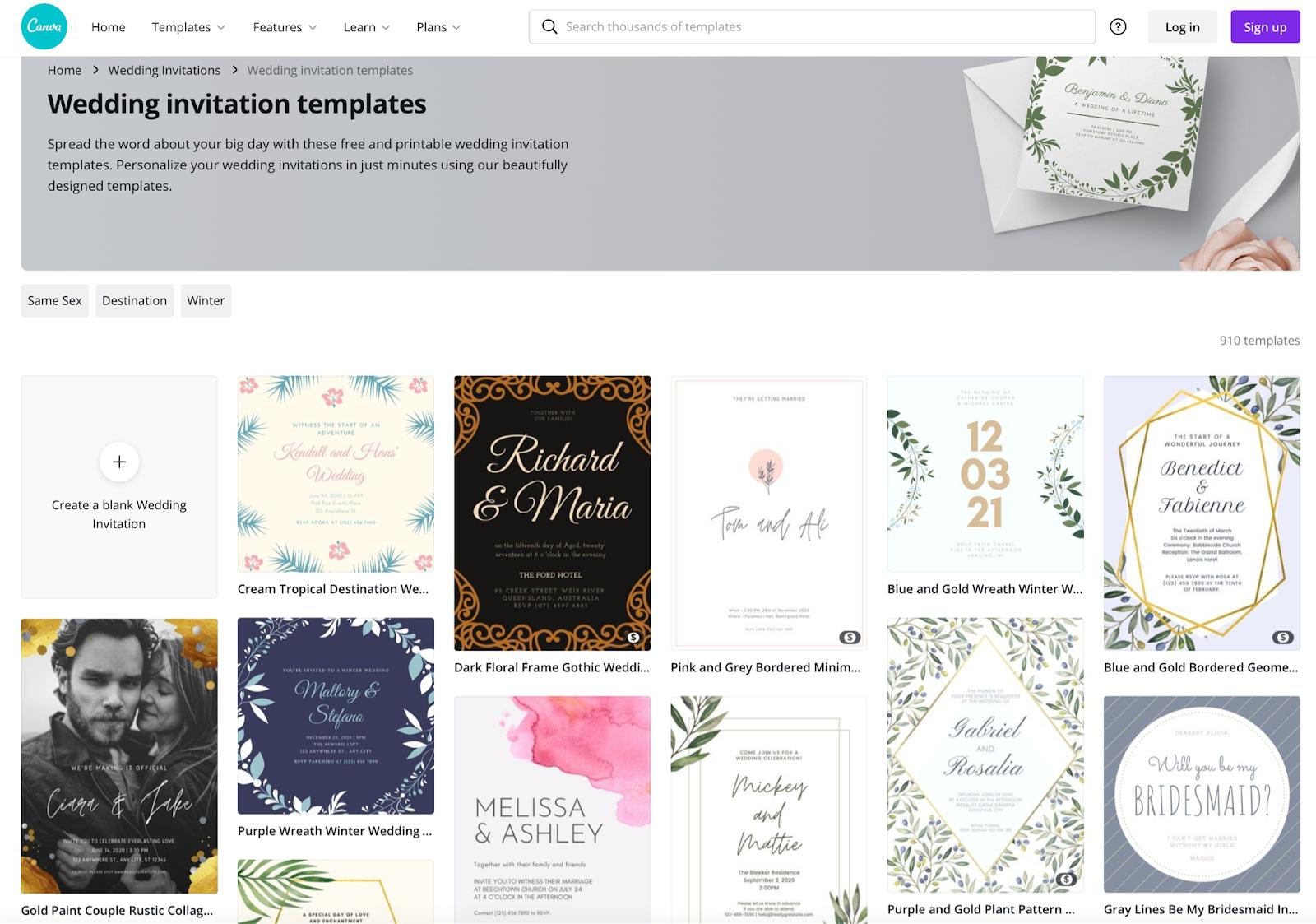 Canva wedding invitation templates
