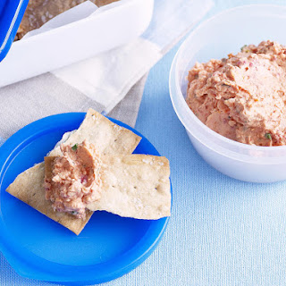 Sun Dried Tomato Dip with Lavash Chips.