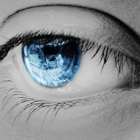 Eyes by Subroto Mukherjee - People Body Parts ( macro, blue, closeup, eyes )