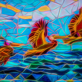 Abstract Pelican Mosaic by Dave Walters - Abstract Patterns ( lumix zs10, pelican, mosaic, abstract, colors )