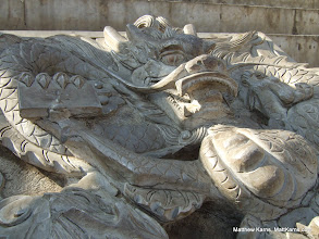 Photo: This stone dragon is carved into a tablet on the steps leading to the Shaolin monastery.