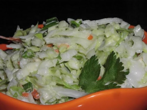 """Tequila Slaw with Lime and Cilantro """"Serve on tacos, alongside bbq'd chicken..."""