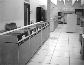 Photo: MTS disk drives (Telex 3330s), second floor, Computing Center, North Campus, University of Michigan, Ann Arbor, Michigan, USA, c. 1971