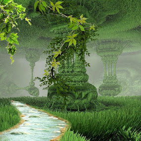 Tropical paradise by Linda Czerwinski-Scott - Illustration Sci Fi & Fantasy ( fantasy, illustration, fractal, design,  )