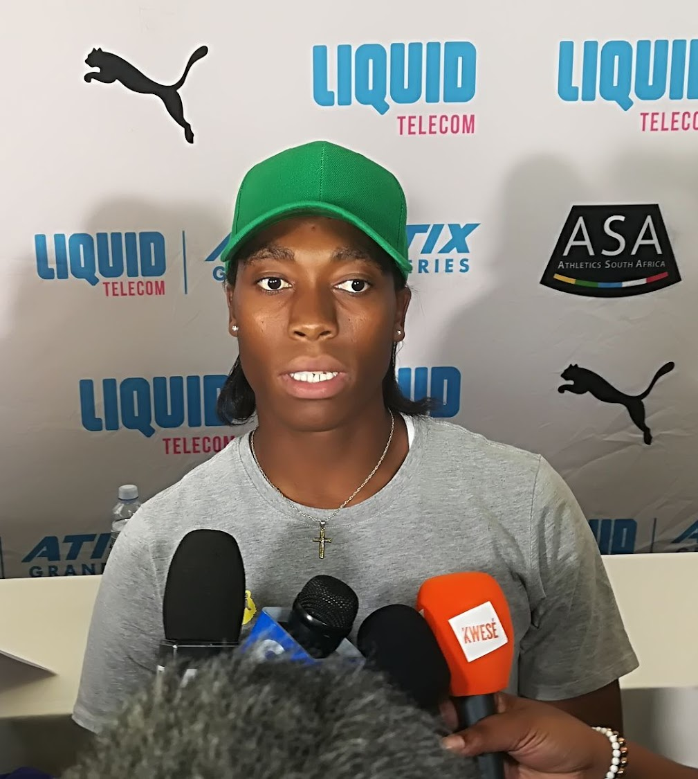 World 800m champion Caster Semenya speaks to the media at the Liquid Telecom Athletics Grand Prix at Tuks Stadium on Tuesday March 6 2018.