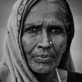 Aged beauty by Shikhar Sharma - People Portraits of Women ( b&w, woman, indian )