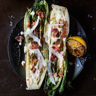 Grilled Romaine Lettuce with Creamy Lemon Dressing.