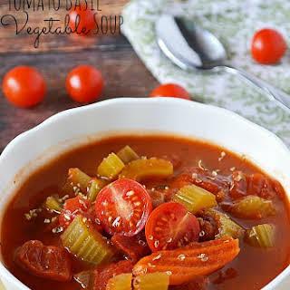 Gluten Free Tomato Basil Vegetable Soup.