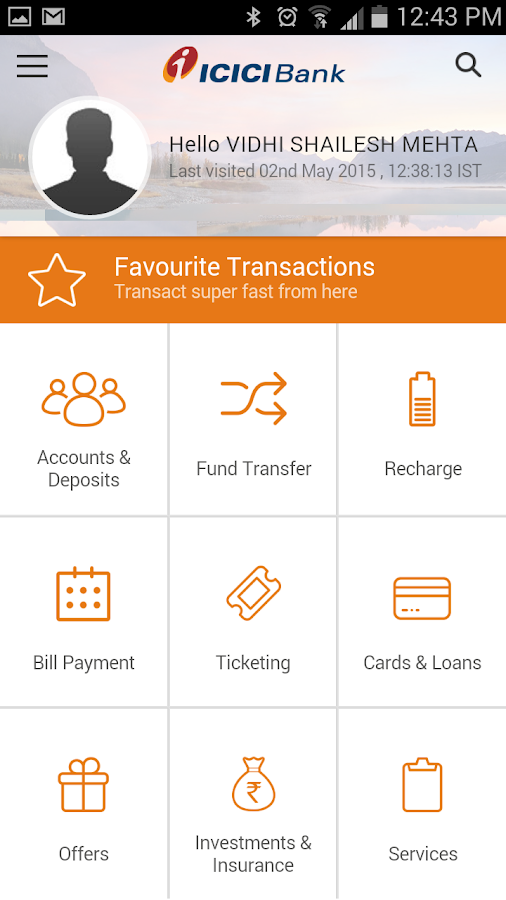 ICICI MOBile banking imobile home screen