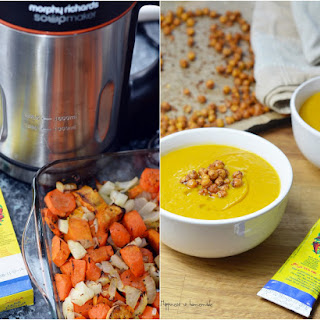 Roasted Carrots, Sweet Potato Soup With Harissa & Roasted Chickpeas.