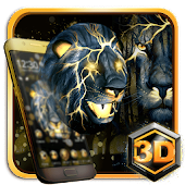 3D Neon Golden Lion Theme