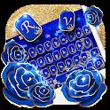 Gold Blue Rose Keyboard icon