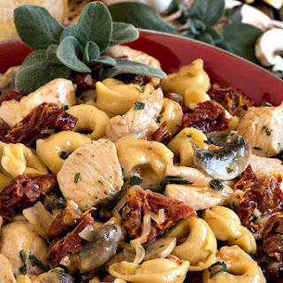 Creamy Tortellini and Chicken with Sun-Dried Tomatoes.