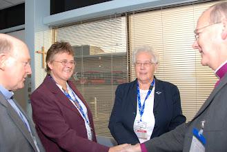 Photo: Meeting Luton Airport Chaplain Linda Banfield (Senior Chaplain The Revd Michael Banfield, left; Chaplain Barbara McIntosh, right)