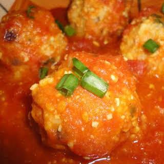 Soybean Koftas With Tomato Sauce.