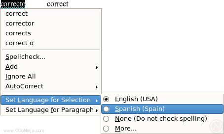 OpenOffice.org 2.4: Screenshot depicting Writer's new context menu with language selection