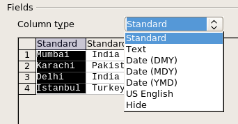 Column options for text to columns feature