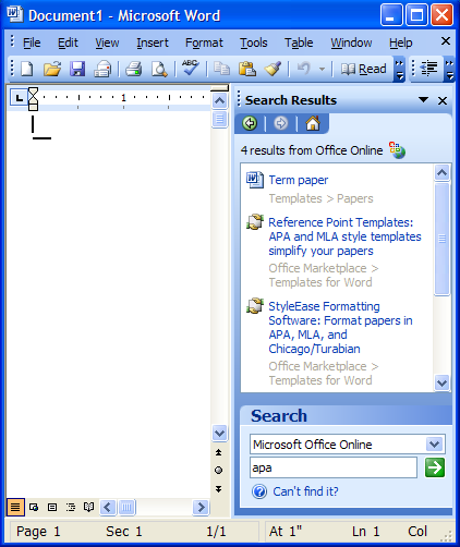 Microsoft Office Word 2003 help showing two marketplace ads