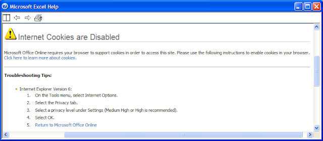 Microsoft Office Word 2003 help: an error when cookies are disabled in Internet Explorer