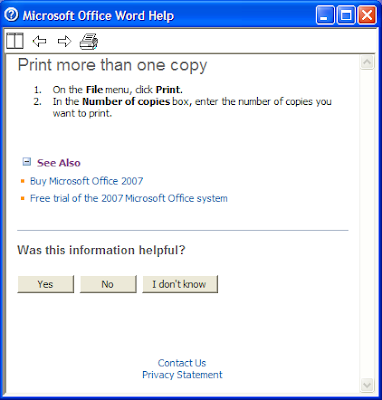 Microsoft Office Word 2003 help showing two up-selling ads for Office 2007