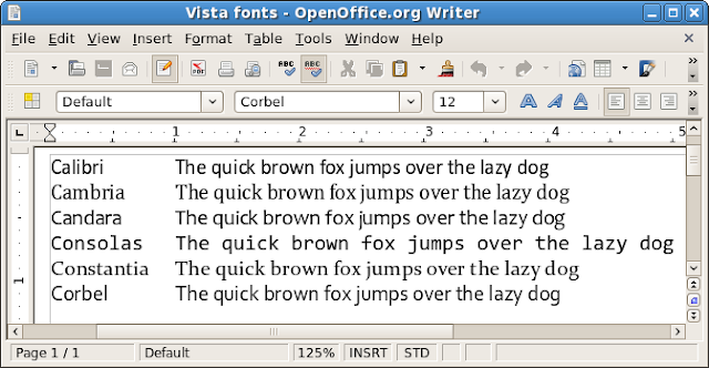 The Office 2007 / Windows Vista shown in OpenOffice.org 2.3.1 on Linux