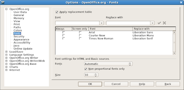Font replacement table for OpenOffice.org 2.3.1 to use Liberation fonts instead of Microsoft Core fonts