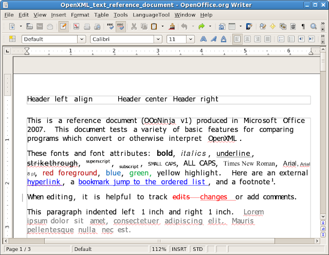 Results of Zamzar conversion from reference OpenXML .docx document to OpenDocument .odt