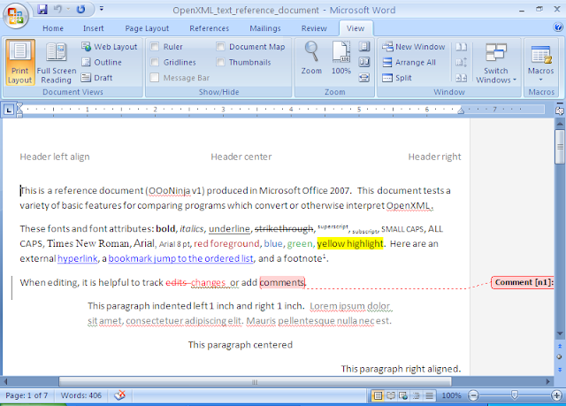 OpenXML reference document rendered in Microsoft Office Word 2007
