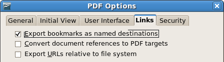 OpenOffice.org 2.4 PDF export options dialog, links tab, showing the option 'Convert document references to PDF Targets'