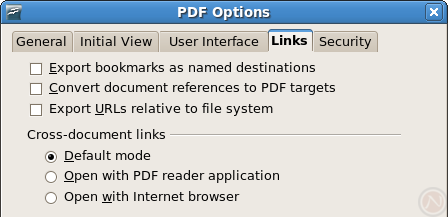 OpenOffice.org 2.4: PDF Options dialog in the Links tab