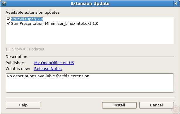 The new extension update dialog shows an extension with a display name, a publisher link, and a link to release notes.