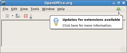 Screenshot showing the a popup message indicating updates for extensions are available