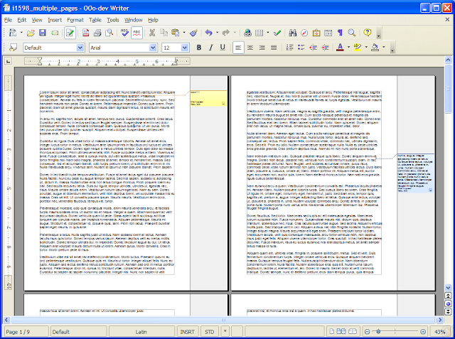 Screenshot: OpenOffice.org Writer 3.0 displays pages side by side