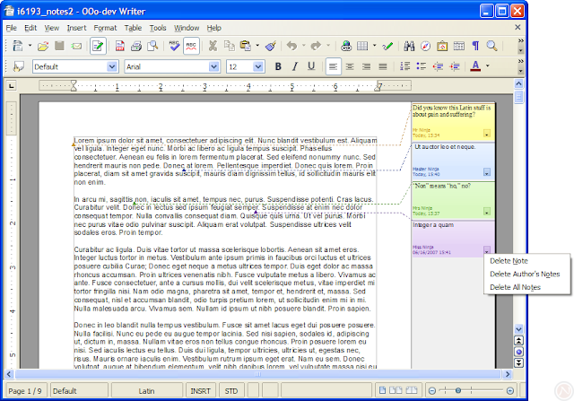 Pretty notes in OpenOffice.org Writer 3.0