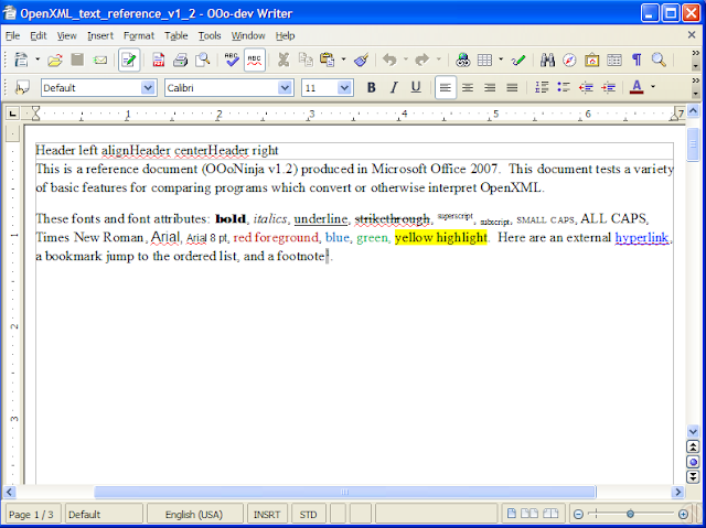 Microsoft Office Word 2007 reference document rendered in OpenOffice.org 3.0
