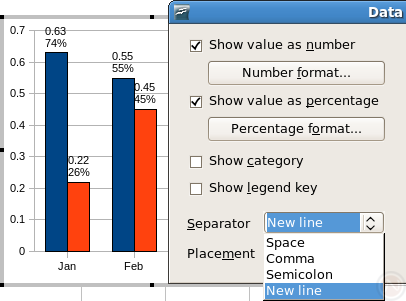 Chart: display each part of data label on separate line