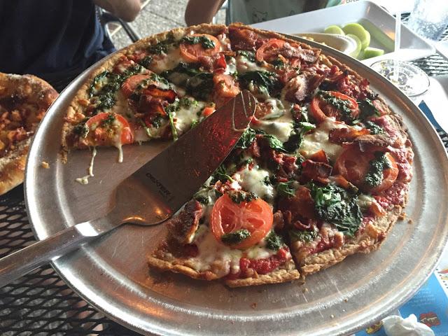 Kosmic Karma gf pizza with bacon added...