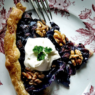 Red Cabbage, Onion And Walnut Tart