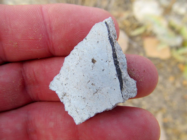 Potsherd with a painted black line