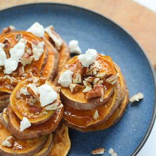 Roasted Sweet Potatoes With Toasted Pecans And Chevre