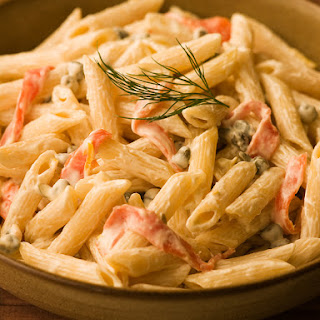 Penne with Smoked Salmon & Cream Cheese Sauce.