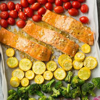 Sheet Pan Honey Mustard Salmon and Rainbow Veggies.