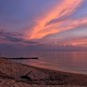 Clouds After Sunset by Jennifer Smusz - Landscapes Waterscapes ( #clouds, #driftwood, #puremichigan, #sunset, #sand, #beach )