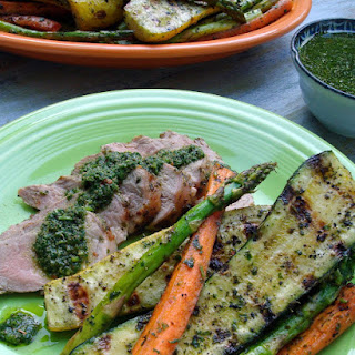 Grilled Pork Tenderloin with Chimichurri and Summer Veggies