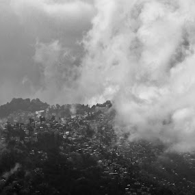 Ruined Beauty by Sandip Banerjee - Black & White Buildings & Architecture ( hill station, mountains, natural beauty, india, darjeeling,  )