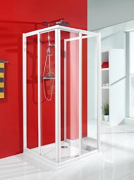 Paroi de douche en U, porte 70 à 100 cm, paroi latérale 50 à 120 cm, accès d´angle avec paroi latérale