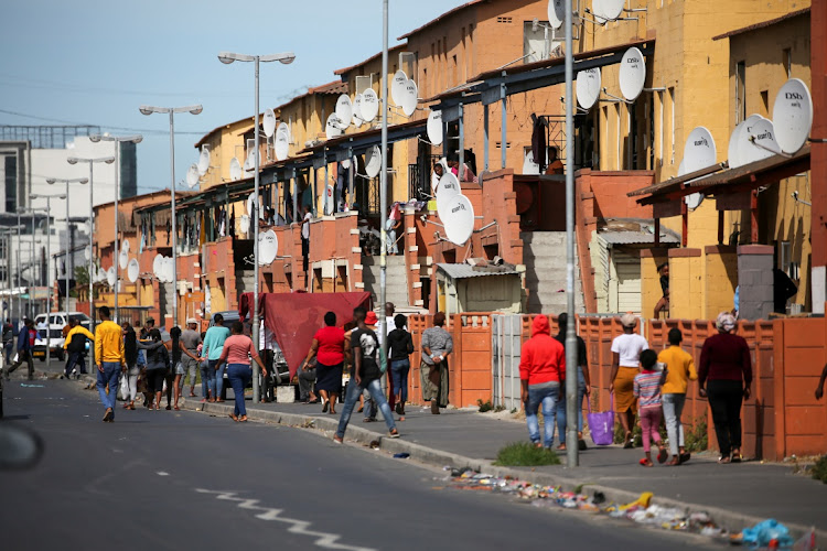 Little social-distancing in Langa township amid the Covid-19 lockdown in Cape Town. Picture: REUTERS/SUMAYA HISHAM